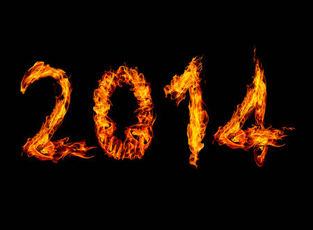 2014 year text High resolution fire collection isolated on black background photo