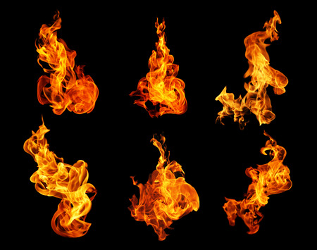 Fire flames collection isolated on black background photo