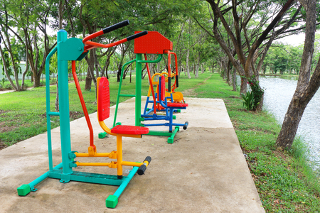 Exercise equipment in the public park photo