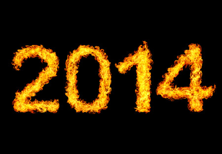 2014 year text made of flames photo