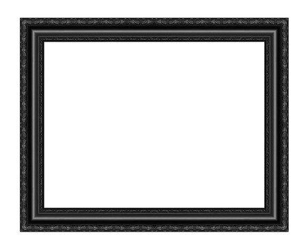 Black picture frame carved wood frame Isolated on white background. Archivio Fotografico