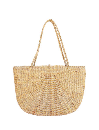Handbag made from dry Water hyacinth on white background 写真素材