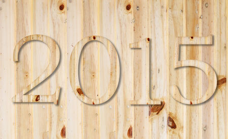 2015 year text collection isolated on wood background. photo