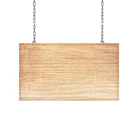 unbalanced: Wooden sign isolated on white background.