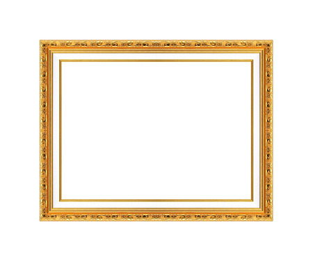 mirror frame: gold picture frame Isolated on white background