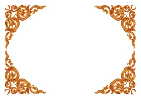 carve: Pattern of wood frame carve on white background Stock Photo