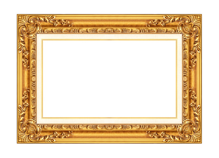 wall art: antique golden frame isolated on white background