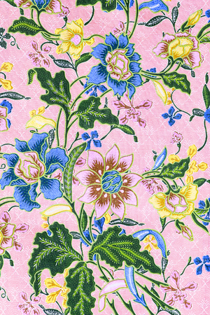 motif floral: vintage style of tapestry flowers fabric pattern background Stock Photo