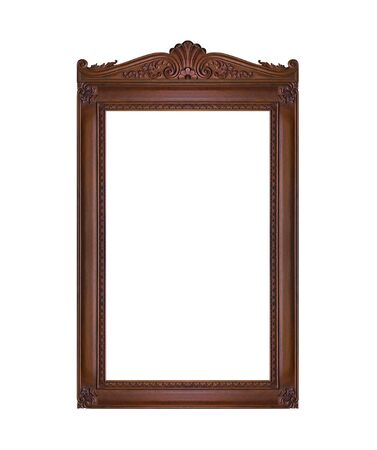 baroque furniture: antique picture frame isolated on white background Stock Photo