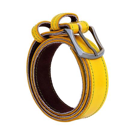 colorful leather belt isolated on white background photo