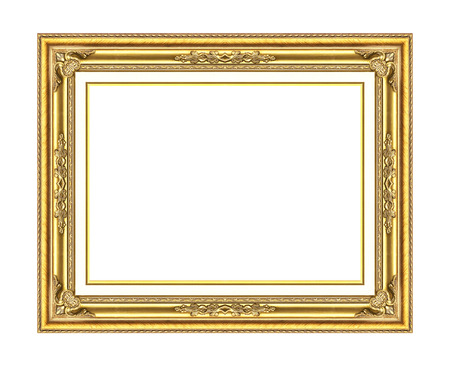 antique golden frame isolated on white background photo