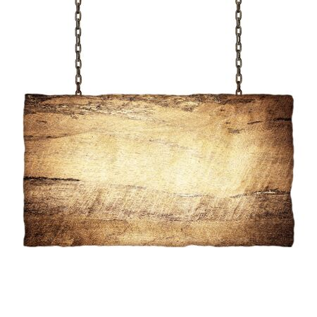 unbalanced: Wood sign from a chain isolated on white