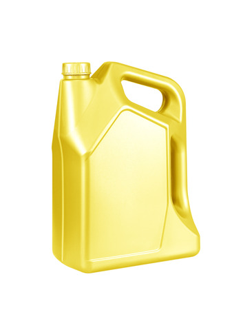 greasing: Engine oil canister isolated on white background. gold color