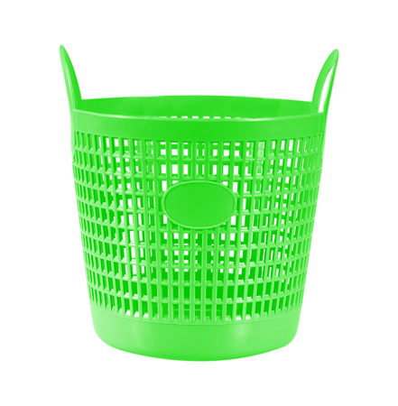 onlineshop: Small green plastic basket isolated on white Stock Photo
