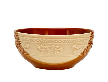 folwer: Empty brown clay bowl isolated on white