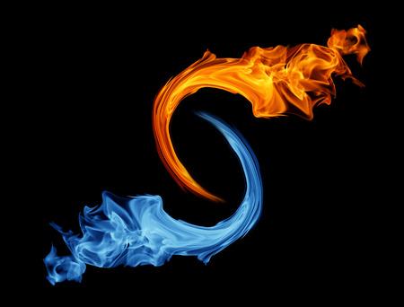Yin-yang symbol, ice and fire Archivio Fotografico