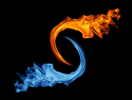 of fire: Yin-yang symbol, ice and fire Stock Photo