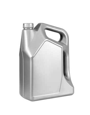 greasing: Engine oil canister isolated on white background.