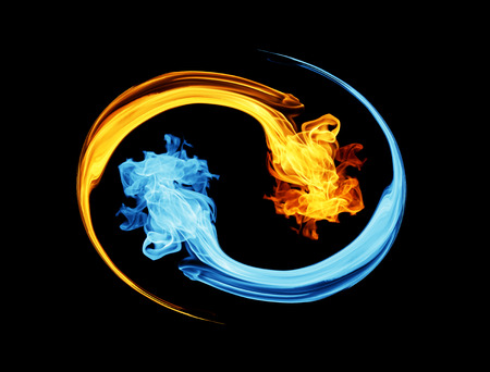 Yin-yang symbol, ice and fire 스톡 콘텐츠