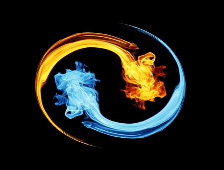 Yin-yang symbol, ice and fire Standard-Bild