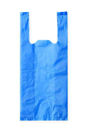 blue Plastic Bag on White Background Reklamní fotografie