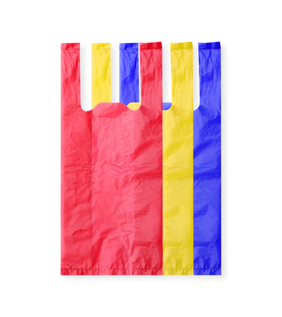 frowzy: colorful plastic bag isolated on white background