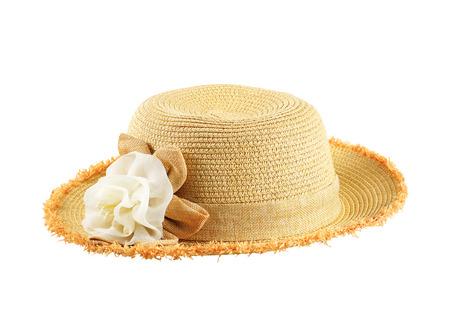 dressy: Pretty straw hat with flower on white background