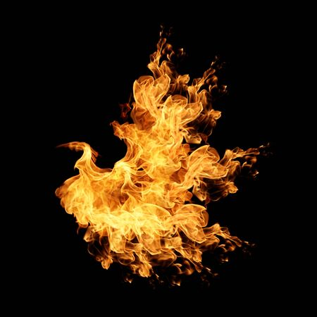 gas fireplace: Abstract Fire flame on black background Stock Photo