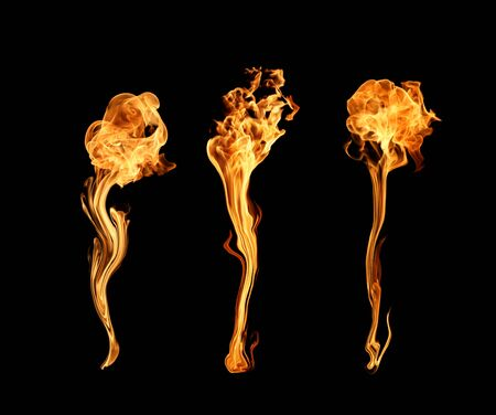 gas flame: Abstract Fire flame on black background Stock Photo