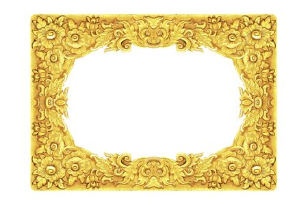 metal pattern: old decorative frame - handmade, engraved - isolated on white background Stock Photo