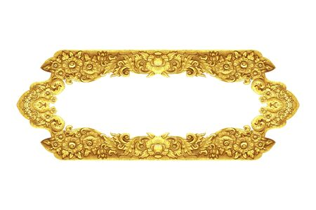 old decorative frame - handmade, engraved - isolated on white background Stock Photo
