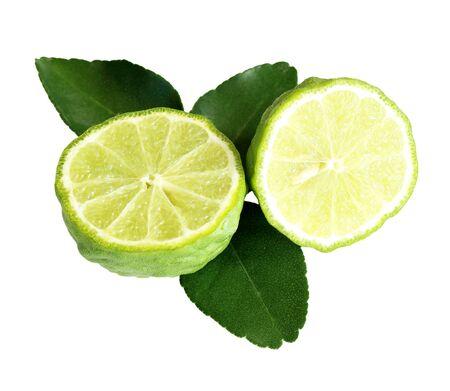 lime: Kaffir lime (Bergamot) isolated on white background