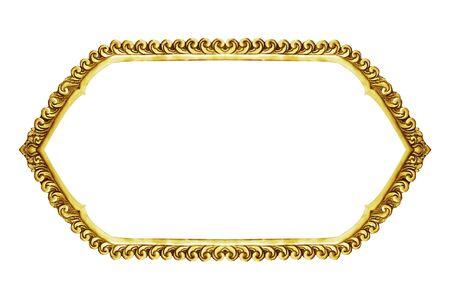 decorative frame: old decorative frame - handmade, engraved - isolated on white background Stock Photo