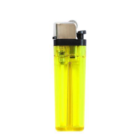 encendedores: encendedores amarillas aisladas sobre fondo blanco Foto de archivo