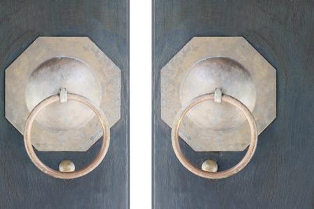 doorhandle: CloseUp image of old door with circle iron door-handle