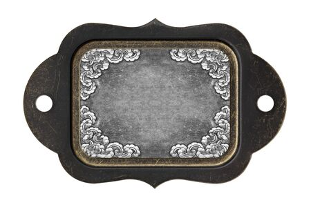 oxidated: steel background plate with frame on white background