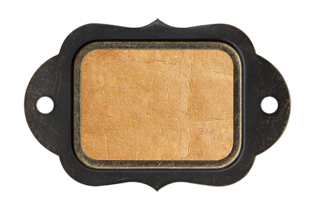 nameboard: Leather texture background plate with steel frame on white background