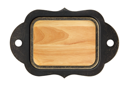 wood texture background plate with steel frame on white background