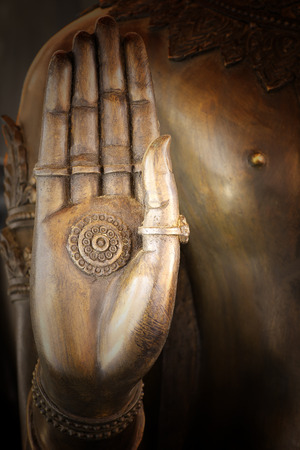 no name: hand of buddha statue In Thailand, any kinds of art decorated in Buddhist church. created with money donated by people. They are public domain, no restrict in copy, no name of artist appear.