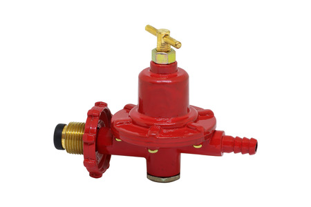 regulator: gas valve pressure regulator on white background Stock Photo