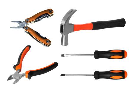 set of tools isolated on white background.