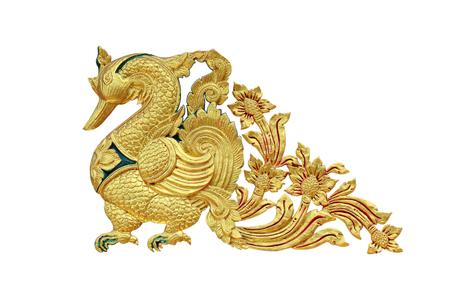 Golden stucco swan on white background Stock Photo