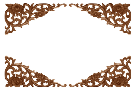 wood carved frame isolated on white background