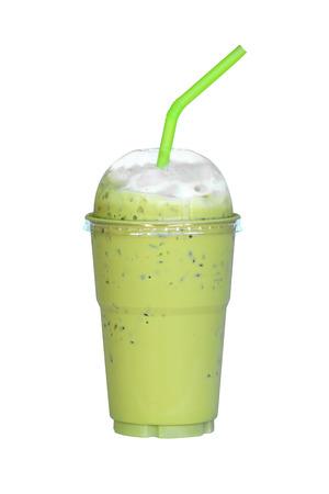 Ice green tea isolated on white background Stock Photo