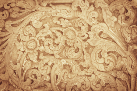 wooden carved flowers texture background