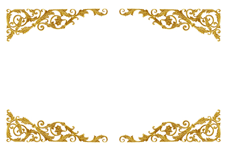 Ornament elements vintage gold floral for decoration isolated on white background