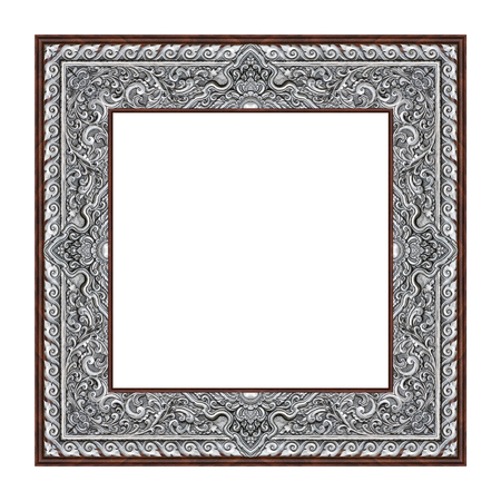 Antique silver carved picture frame isolated on white background
