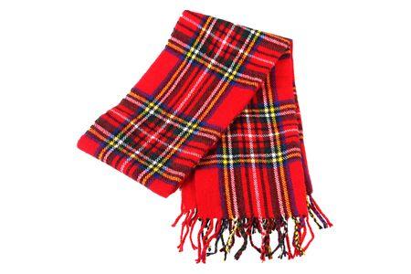 czerwony bawełniany szalik na białym tle