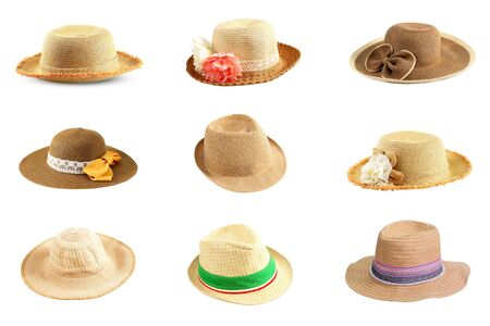 collection of pretty straw hat isolated on white background Stock Photo