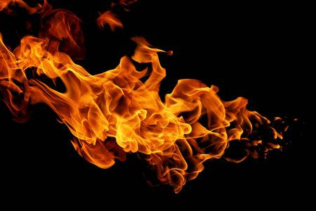 movement of fire flames isolated on black background. abstract background
